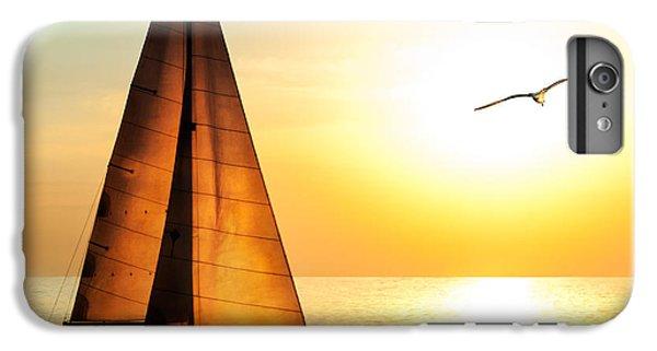 Sailboat iPhone 7 Plus Case - Yacht Sailing Against Sunset. Holiday by Repina Valeriya