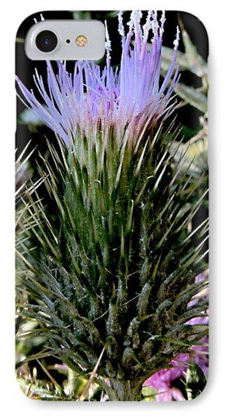 Glowing Purple Thisle Flower IPhone Case