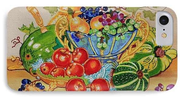 Red Apples And  Grapes Oil Painting IPhone Case