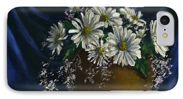 White Daisies In Blue Fabric Still Life Art IPhone Case
