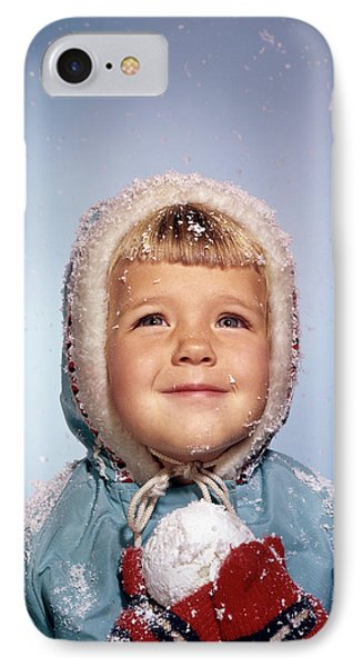 Knit Hat iPhone 8 Case - 1960s Little Girl Holding Snow Ball by Vintage Images