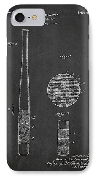 Baseball Bat Patent Drawing From 1920 IPhone Case