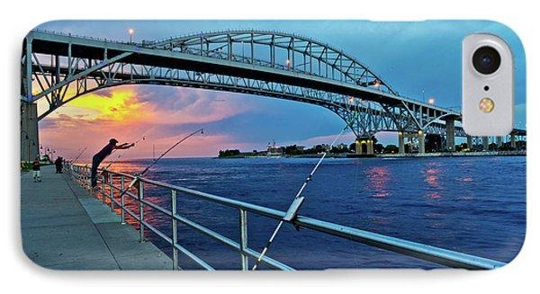 Blue Water Bridge At Dusk, Port Huron IPhone Case