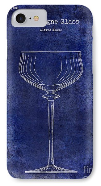 Champagne Glass Patent Drawing Blue IPhone Case