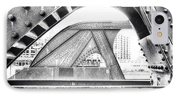 Chicago Bridge In Black And White IPhone Case