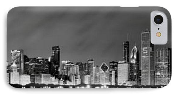 Chicago Skyline At Night In Black And White IPhone Case