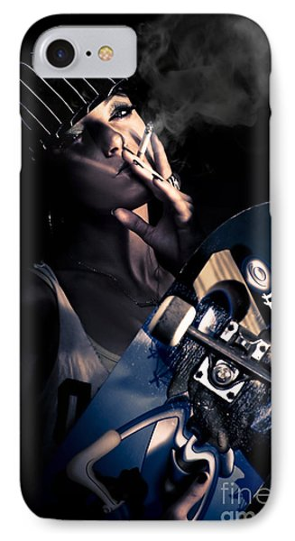 Cool Smoking Woman With Skateboard IPhone Case