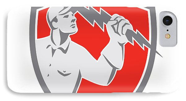 Electrician Holding Lightning Bolt Shield Retro IPhone Case