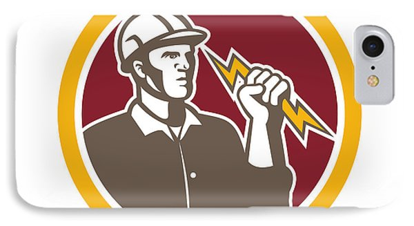 Electrician Wielding Lightning Bolt Circle Retro IPhone Case