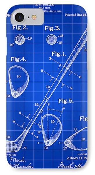 Golf Club Patent 1909 - Blue IPhone Case
