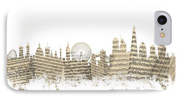London England Skyline Sheet Music Cityscape IPhone Case