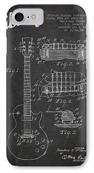 Mccarty Gibson Les Paul Guitar Patent Drawing From 1955 -  Dark IPhone Case