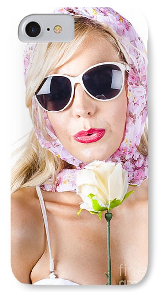 Romantic Woman With Flower IPhone Case