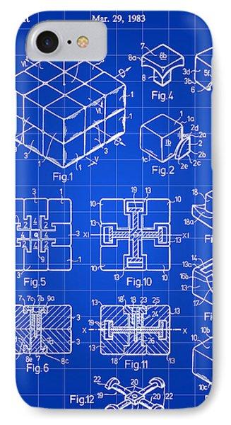 Rubik's Cube Patent 1983 - Blue IPhone Case
