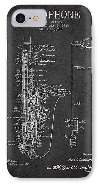 Saxophone Patent Drawing From 1928 IPhone Case