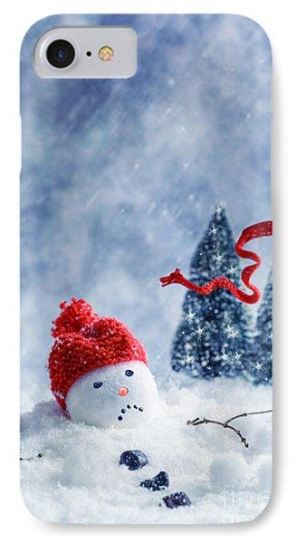 Knit Hat iPhone 8 Case - Snowman  by Amanda Elwell