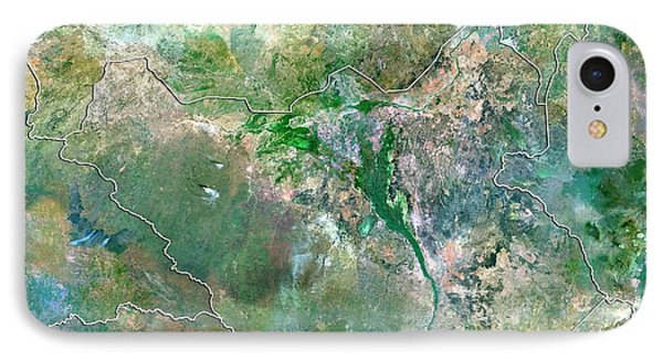 Republic Of South Africa iPhone 8 Case - South Sudan by Planetobserver/science Photo Library