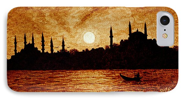 Sunset Over Istanbul Original Coffee Painting IPhone Case