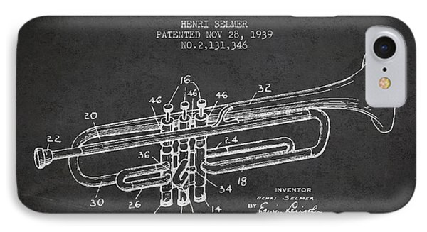 Trumpet iPhone 8 Case - Vinatge Trumpet Patent From 1939 by Aged Pixel
