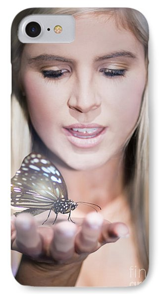 Woman Holding Butterfly IPhone Case