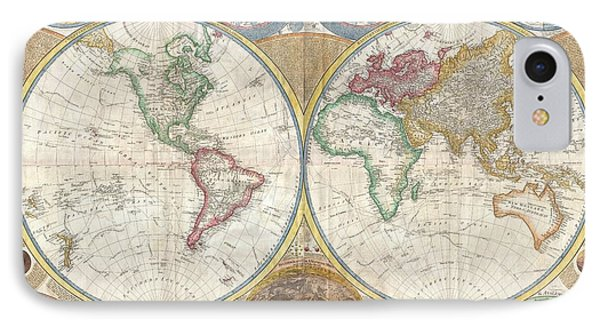 1794 Samuel Dunn Wall Map Of The World In Hemispheres IPhone Case
