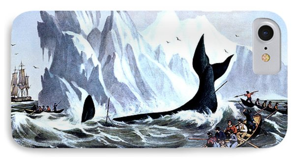 1850s Capturing The Whale - Currier & IPhone Case
