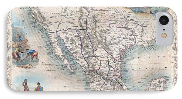 1851 Tallis Map Of Mexico Texas And California  IPhone Case