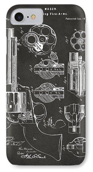 1875 Colt Peacemaker Revolver Patent Artwork - Gray IPhone Case