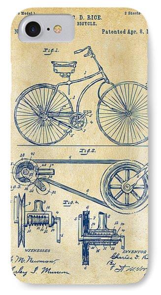 1890 Bicycle Patent Artwork - Vintage IPhone Case