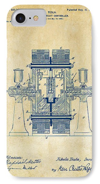 1898 Tesla Electric Circuit Patent Artwork - Vintage IPhone Case