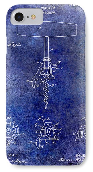 1900 Corkscrew Patent Drawing Blue IPhone Case