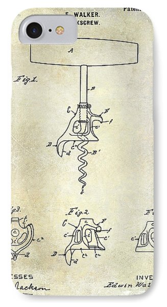 1900 Corkscrew Patent Drawing IPhone Case