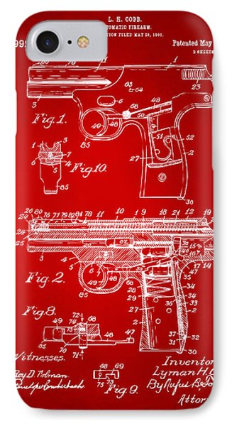 1911 Automatic Firearm Patent Artwork - Red IPhone Case