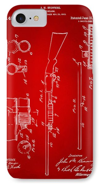 1915 Ithaca Shotgun Patent Red IPhone Case