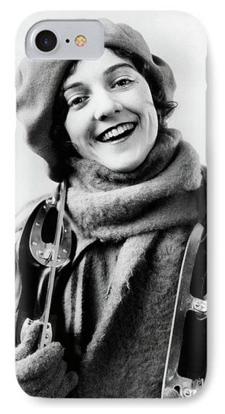Knit Hat iPhone 8 Case - 1920s 1930s Smiling Woman Dressed by Vintage Images