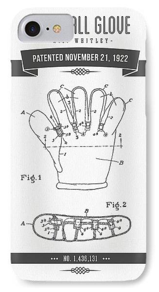 1922 Baseball Glove Patent Drawing IPhone Case