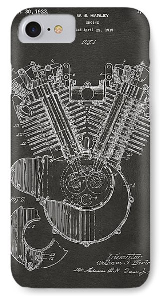 1923 Harley Engine Patent Art - Gray IPhone Case