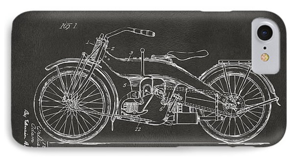 1924 Harley Motorcycle Patent Artwork - Gray IPhone Case