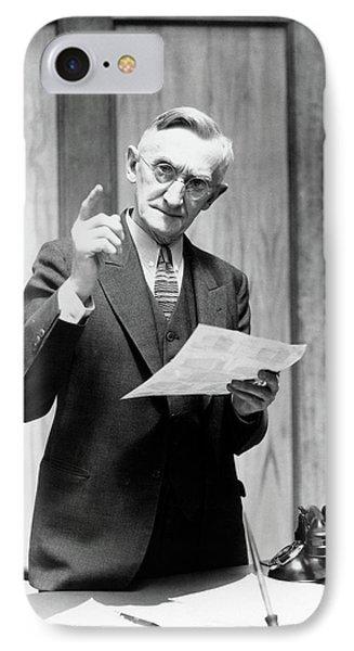1930s Elderly Man In Office Standing IPhone Case