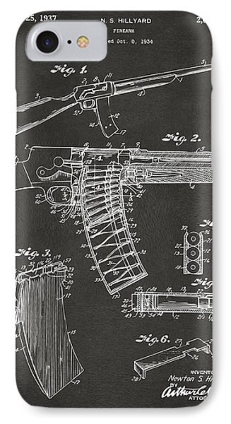 1937 Police Remington Model 8 Magazine Patent Artwork - Gray IPhone Case