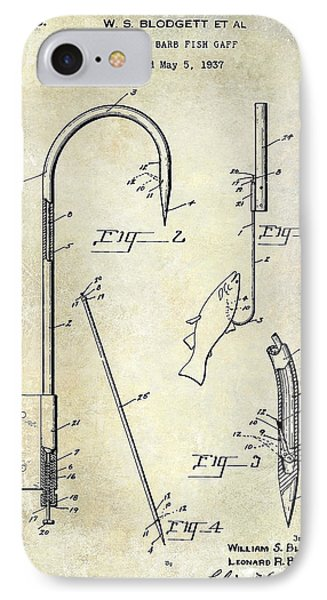 1938 Fishing Gaff Patent Drawing IPhone Case