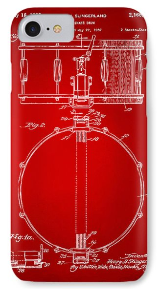 1939 Snare Drum Patent Red IPhone Case