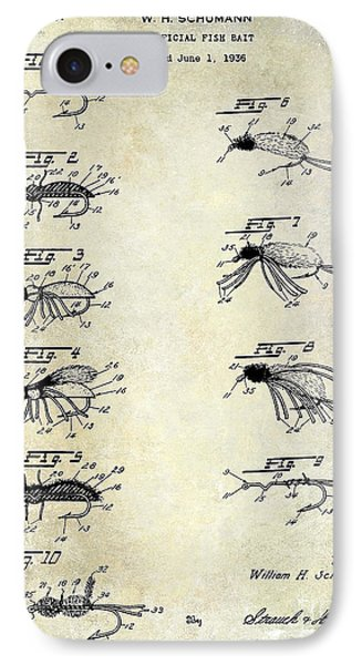 1940 Artificial Fishing Bait Patent Drawing IPhone Case