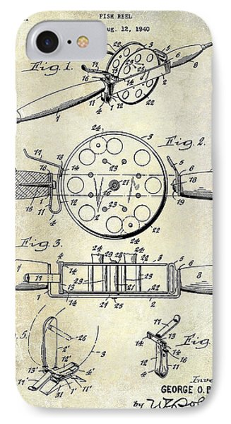 1943 Fishing Reel Patent Drawing IPhone Case