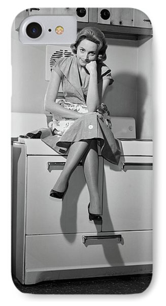 1950s 1960s Woman Housewife Sitting IPhone Case