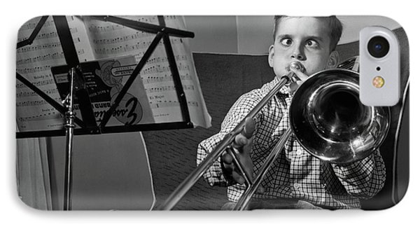Trombone iPhone 8 Case - 1950s Funny Cross-eyed Boy Playing by Vintage Images