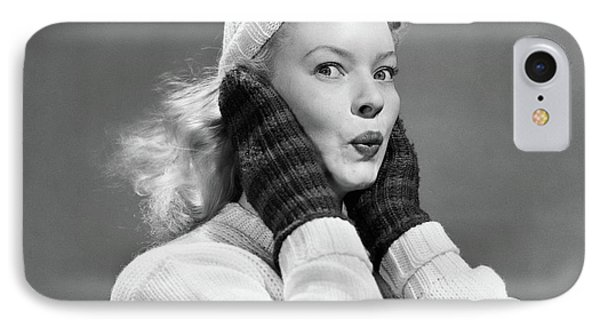 Knit Hat iPhone 8 Case - 1950s Young Woman Pursing Lips Hands by Vintage Images