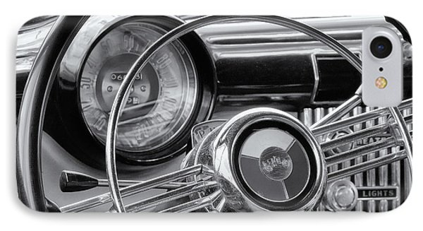 1953 Buick Super Dashboard And Steering Wheel Bw IPhone Case