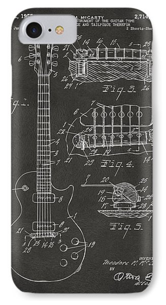 Guitar iPhone 8 Case - 1955 Mccarty Gibson Les Paul Guitar Patent Artwork - Gray by Nikki Marie Smith