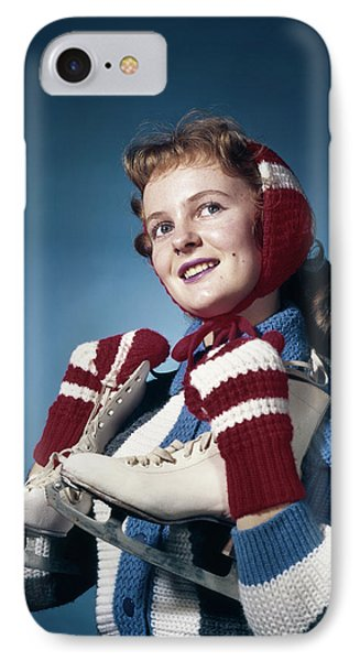 1960s Smiling Woman Wearing Red Mittens IPhone Case